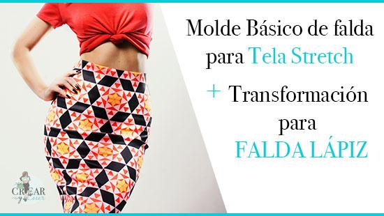 Molde Básico de Falda  para Tela Stretch